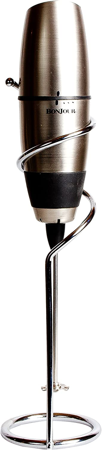 Bonjour Battery Powered Cafe Latte Frother With Stand Chrome Black Kitchen Dining Amazon Com