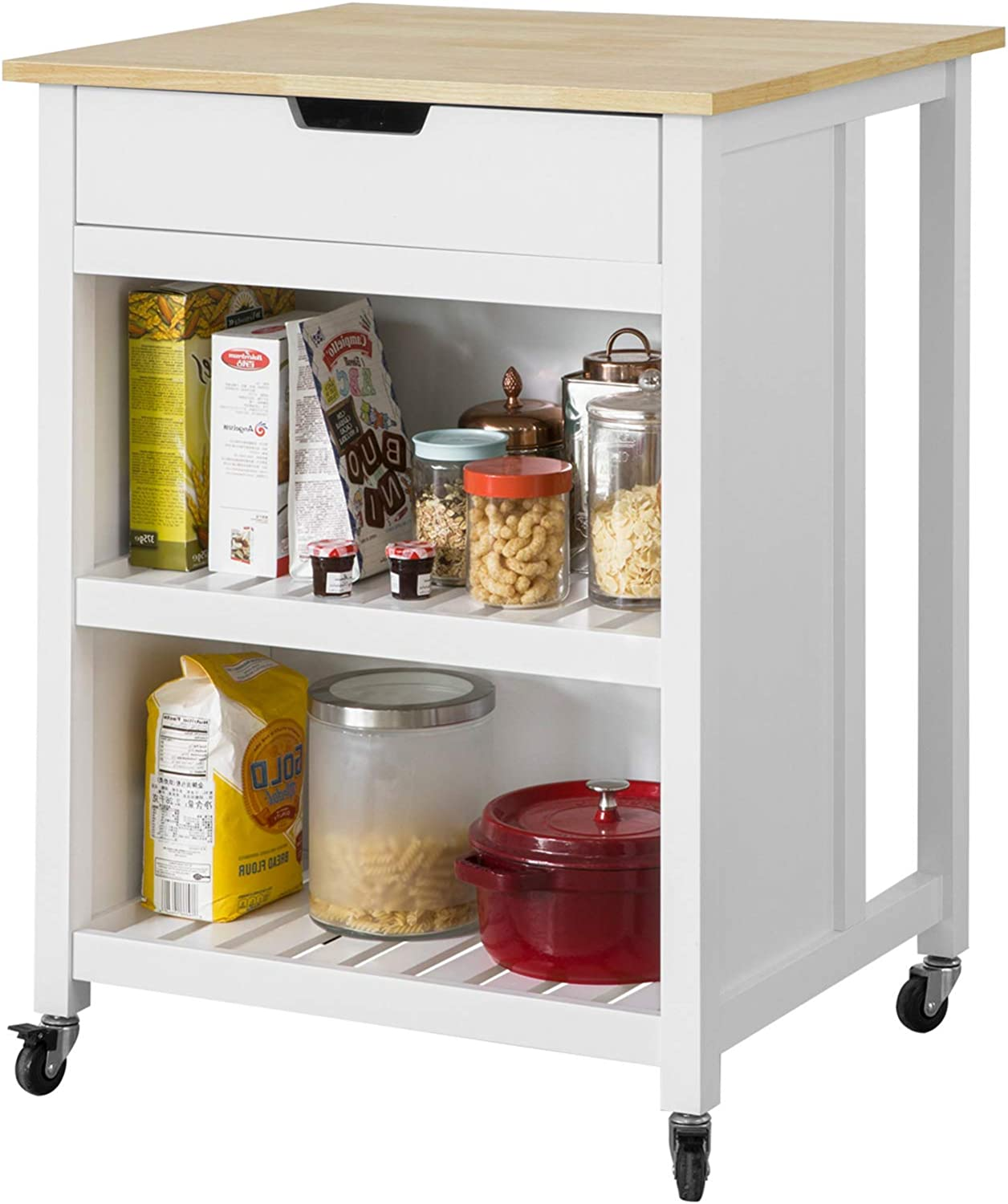 SoBuy® FKW3-K-WN, Kitchen Storage Trolley Kitchen Storage Shelf Kitchen  Breakfast Dining Bar Table Small