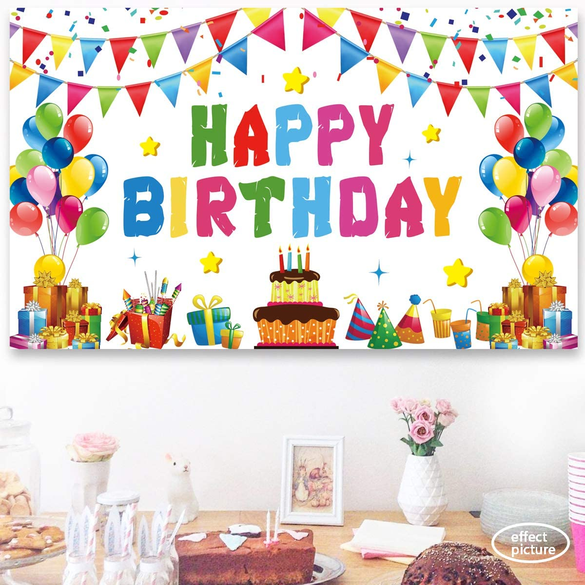 6 x 3.6 Feet Large Birthday Backdrop for Girls Kids Rainbow Ushinemi Happy Birthday Backdrop Banner Colorful Party Decorations Sign