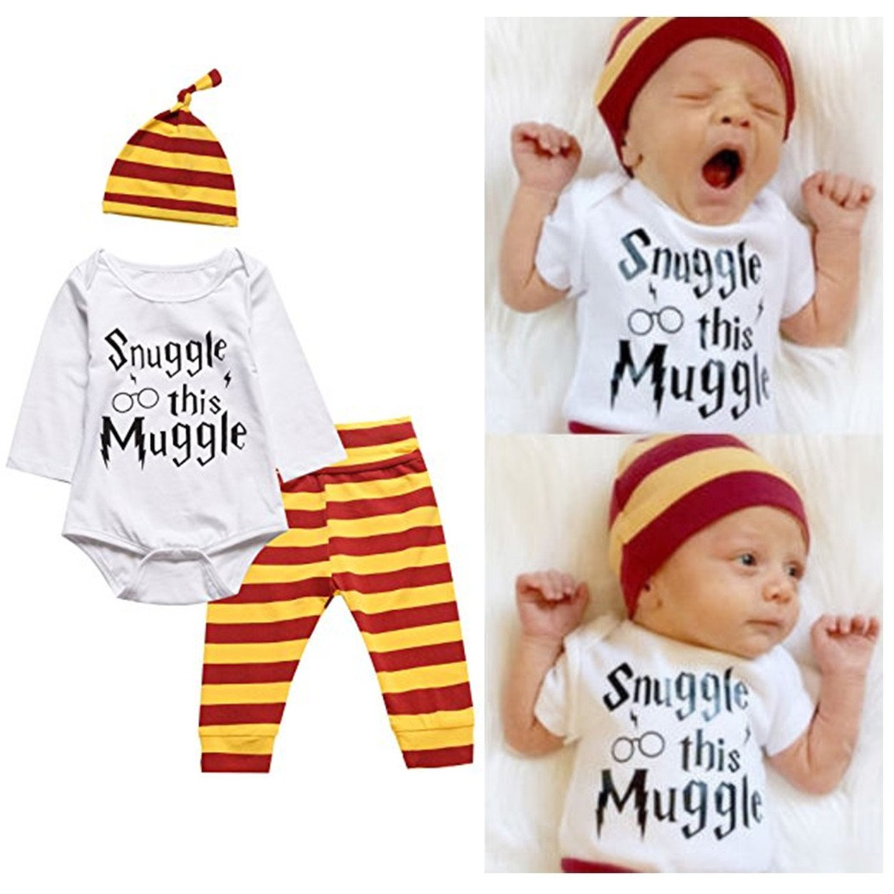Snuggle this Muggle Baby Boys Girls Romper Pants Hat Outfit Set Clothes i-Auto Time