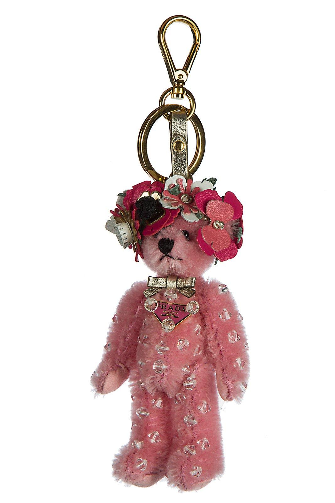 Prada women's keychain keyring trick orsetto enea pink
