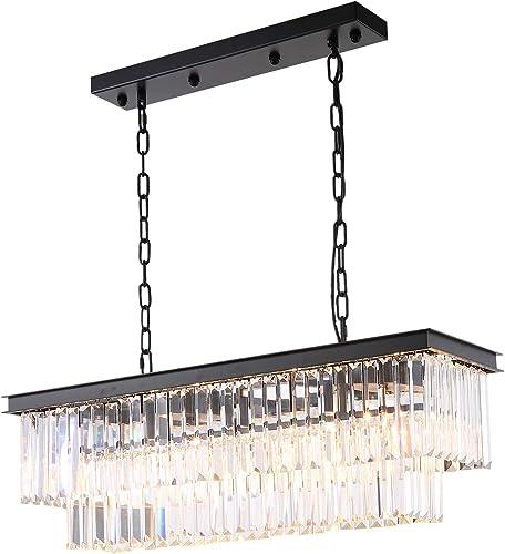 NOXARTE Rectangular Crystal Chandelier Lighting Iron Hanging Ceiling Light Flush Mount Lighting Fixture
