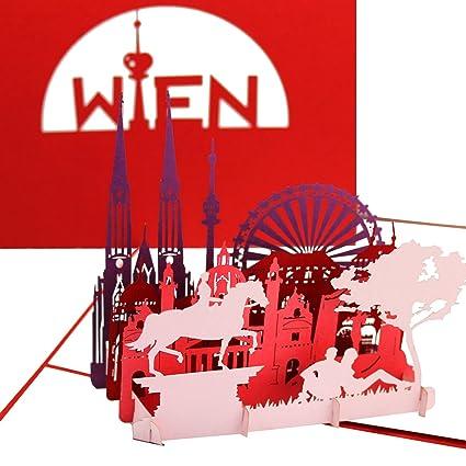 3d Karte Osterreich.3d Pop Up Karte Wien Panorama Mit Riesenrad Wiener Grusskarte Stadtekarte Als Osterreich Souvenir Geburtstagskarte Einladung Gutschein Zur