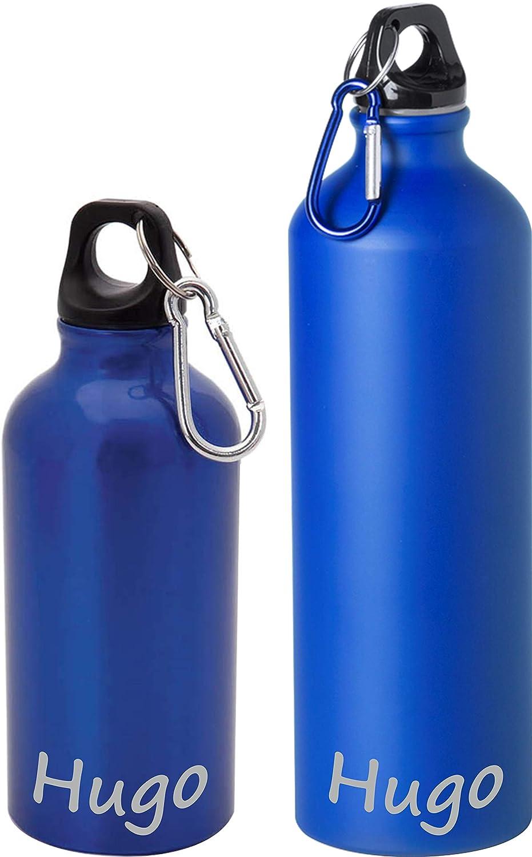 VPM Original - Botella de agua de aluminio de 400 ml o de 800 ml, personalizada con nombre, a prueba de fugas, ideal para deporte, aire libre, senderismo, etc.