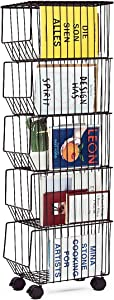 BENOSS Metal Wire Basket with Wheels and Cover,Stackable Rolling Fruit Basket Storage Organizer with Casters, Utility Rack for Kitchen, Pantry, Bathroom, Laundry Room, Garage (5 Layer Baskets)