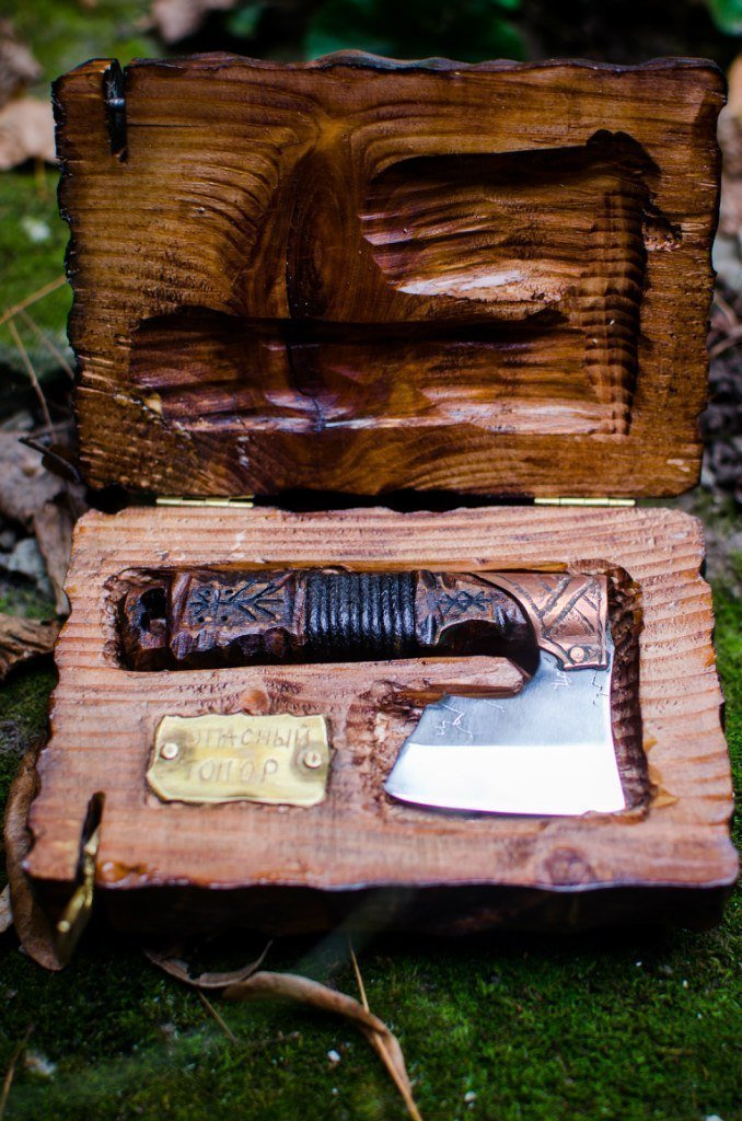 Straight razor warrior axe in Viking Celtic Nordic style original men's gift