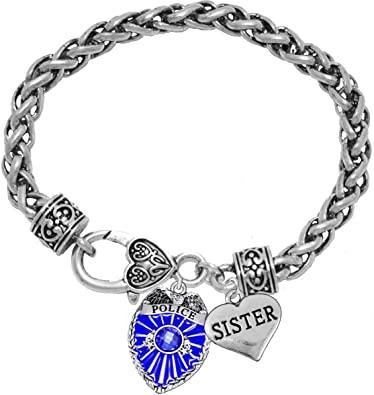 Hypoallergenic Cardinali Jewelry Policemans Badge Safe-No Nickel Blue Leather Bracelet Lead,or Cadmimum Policemans Wife Crystal Heart