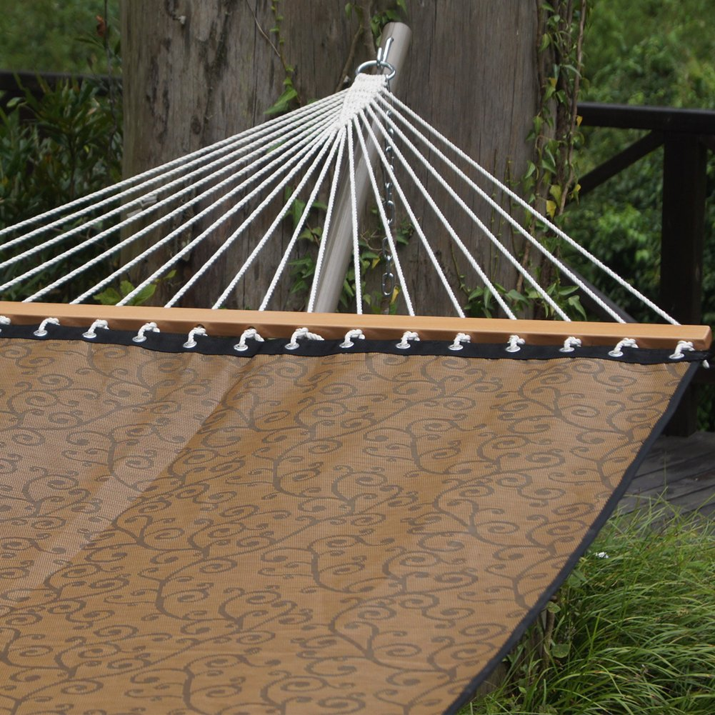 Prime Garden 13 FT Double Hammock, Waterproof and UV Resistance, 2 Person 450 Pound Capacity, Including a Chain Hanging Kit, Mocha