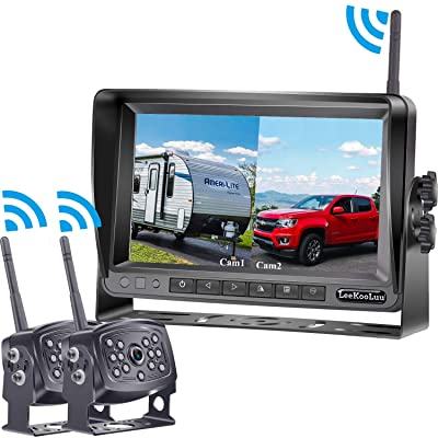 LeeKooLuu HD 960P Digital Wireless Dual Backup Camera 7'' Monitor Split Screen Highway Observation System for Travel Trailers/RVs/Pickup/Trucks/Motorhome IP69K Waterproof Super Night Vision: Car Electronics