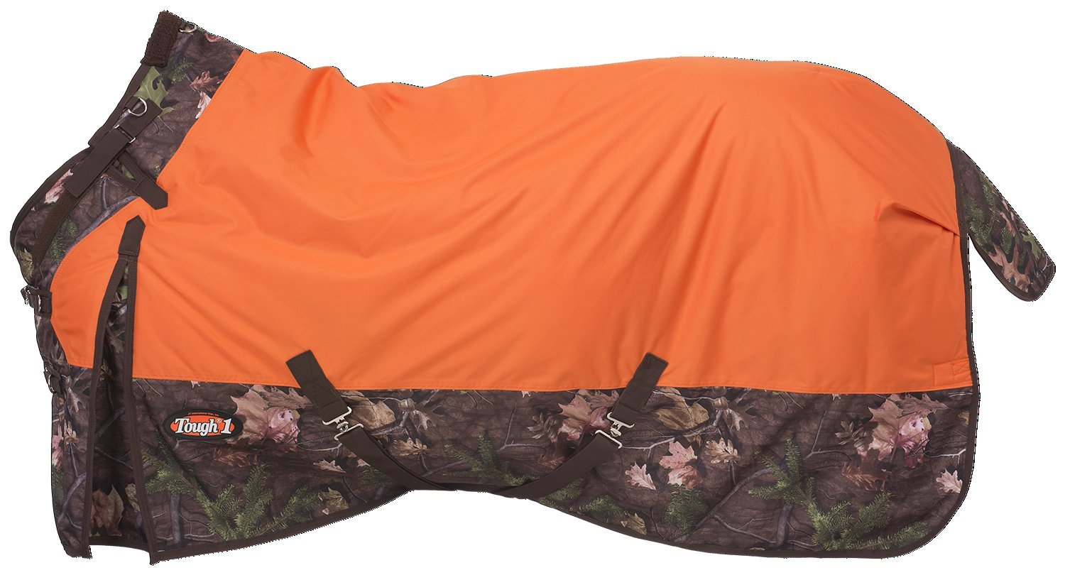 Tough 1 Timber 1200D Waterproof Poly Snuggit Turnout Blanket, Orange, 69''