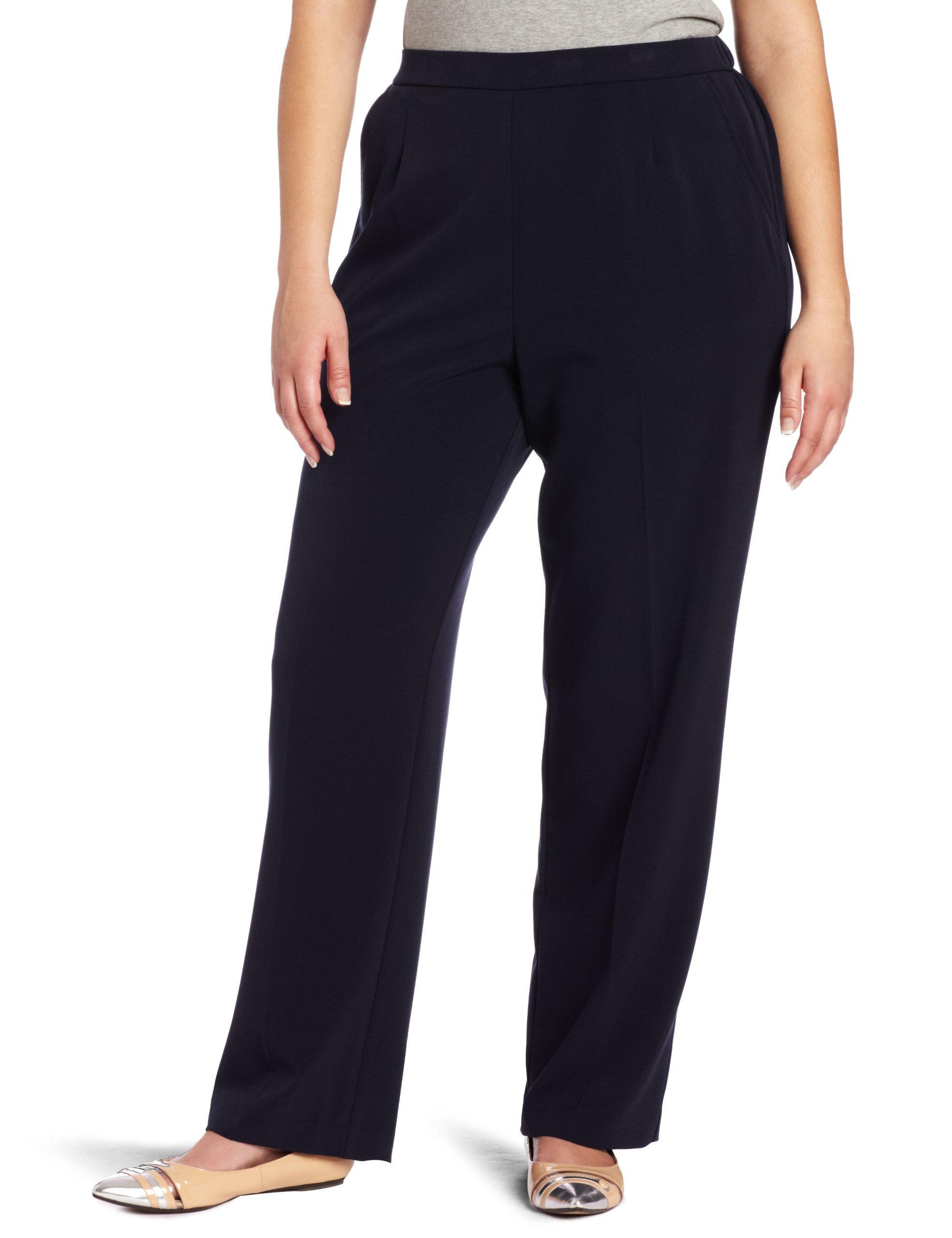 Briggs New York Women's Average Flat Front Pant, Navy, 22