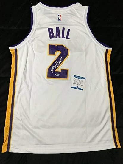 ab4646fcd12 Lonzo Ball Autographed Signed Memorabilia White Los Angeles Lakers  Basketball Jersey Bas Beckett J85286
