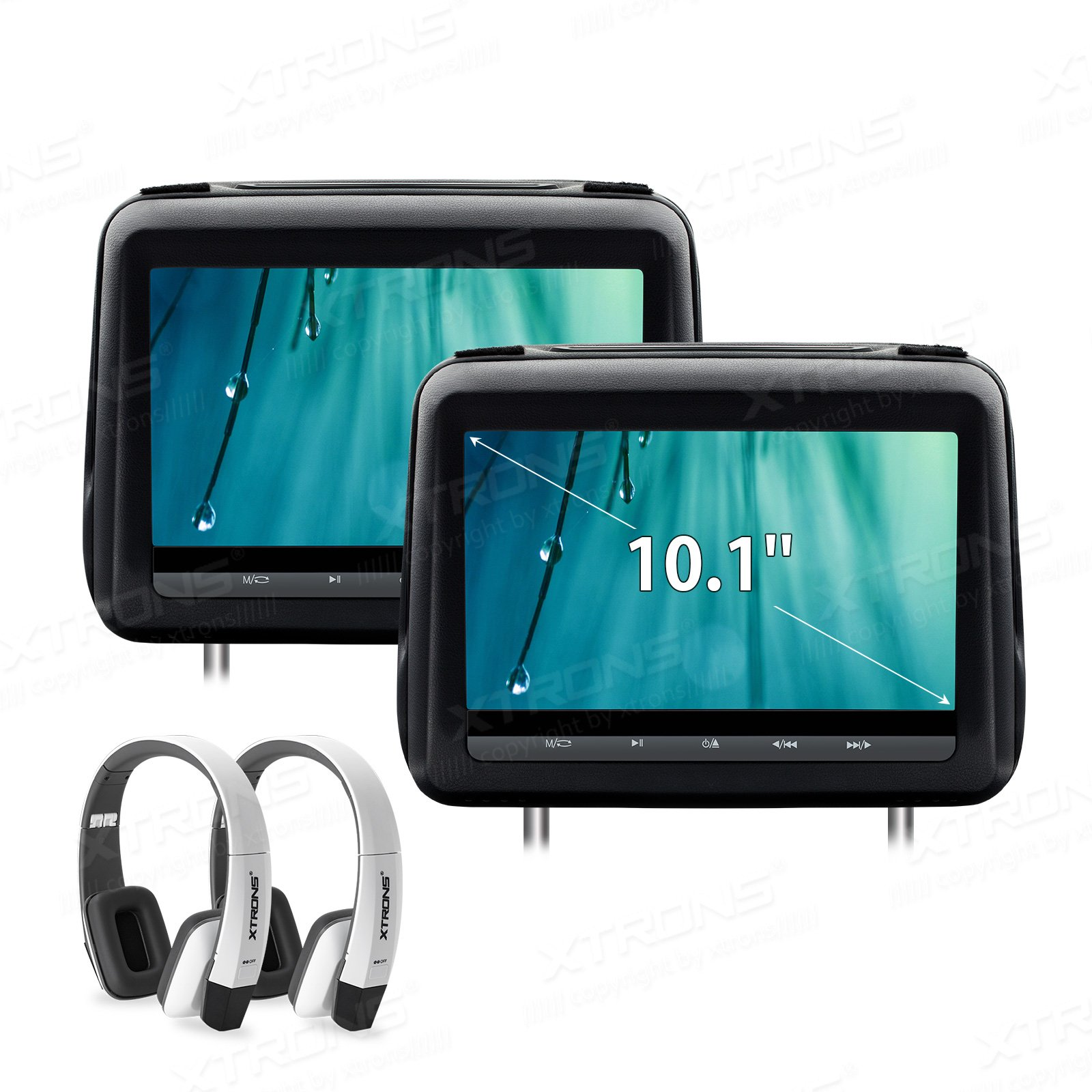 XTRONS 10.1 Inch HD Digital Screen Touch Panel Leather Cover Car Headrest DVD Player 1080P Video with HDMI Port White New Version IR Headphones Included