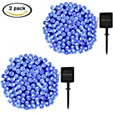 ApexPower 2 Packs Christmas Solar String Lights 200 LED 72ft 8 Modes Solar Powered Starry Lighting for Outdoor Patio Lawn Garden Weeding Party Xmas Thanksgiving Tree Decoration (Blue)