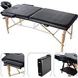 Lettino nero per massaggio con poggiatesta -187cm Portatile Fisioterapia 2 zone Regolabile di Massaggio SPA - 17 kg