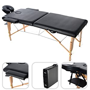 Foldable Massage Table, Professional Therapy Table - Size: 186 x 71 x 62 cm - Height: Adjustable 62~83 cm - Black, 2 section foldable, Wooden legs, with Headrest, armrest, carry bag