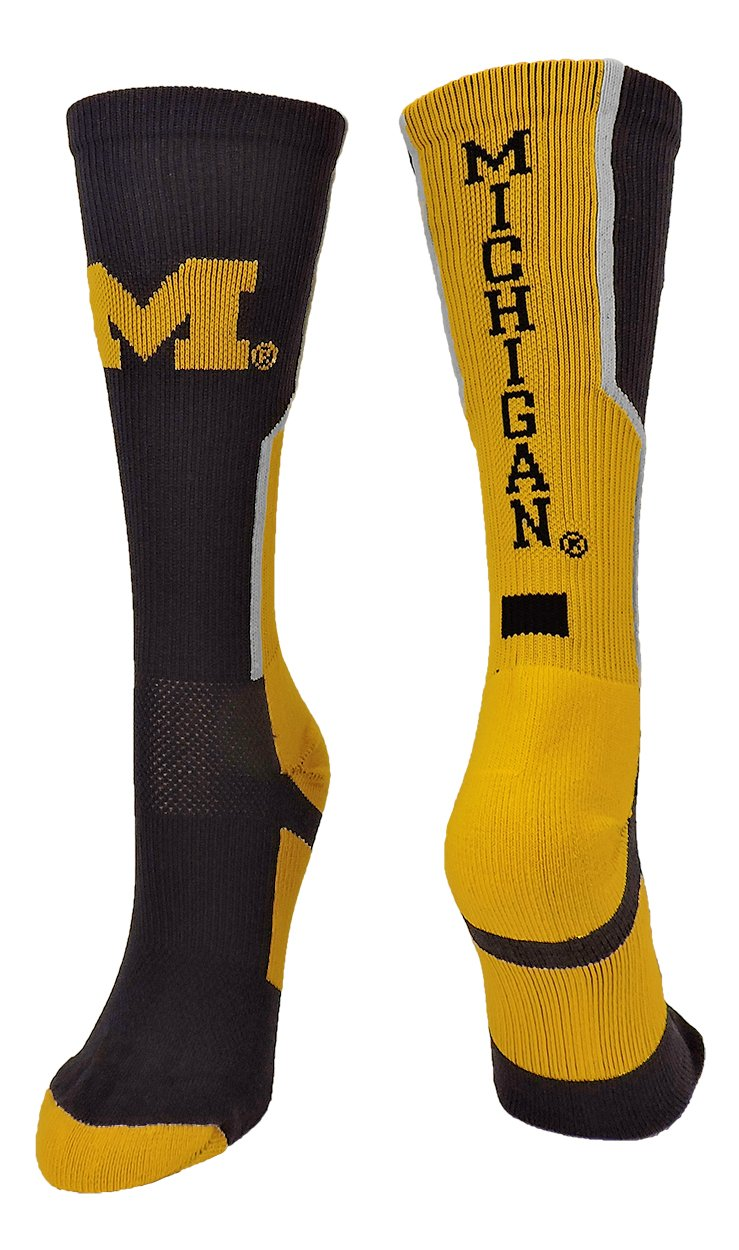 TCK Sports Michigan Wolverines Perimeter Crew Socks (Navy/Gold/White, Small)