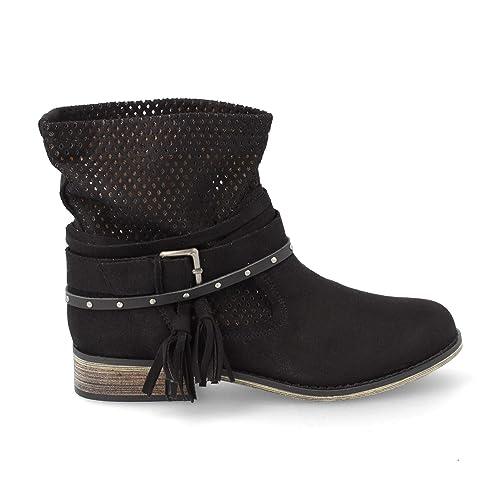 d3c4dac70bb Bota Mujer Caladas con Correas Estilo Motero de Tacon Bajo Primavera Verano  2019  Amazon.es  Zapatos y complementos