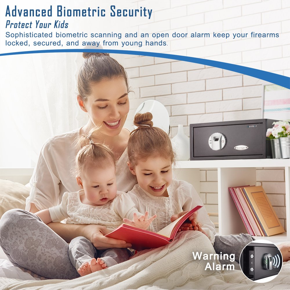Barska biometric safe next to happy family