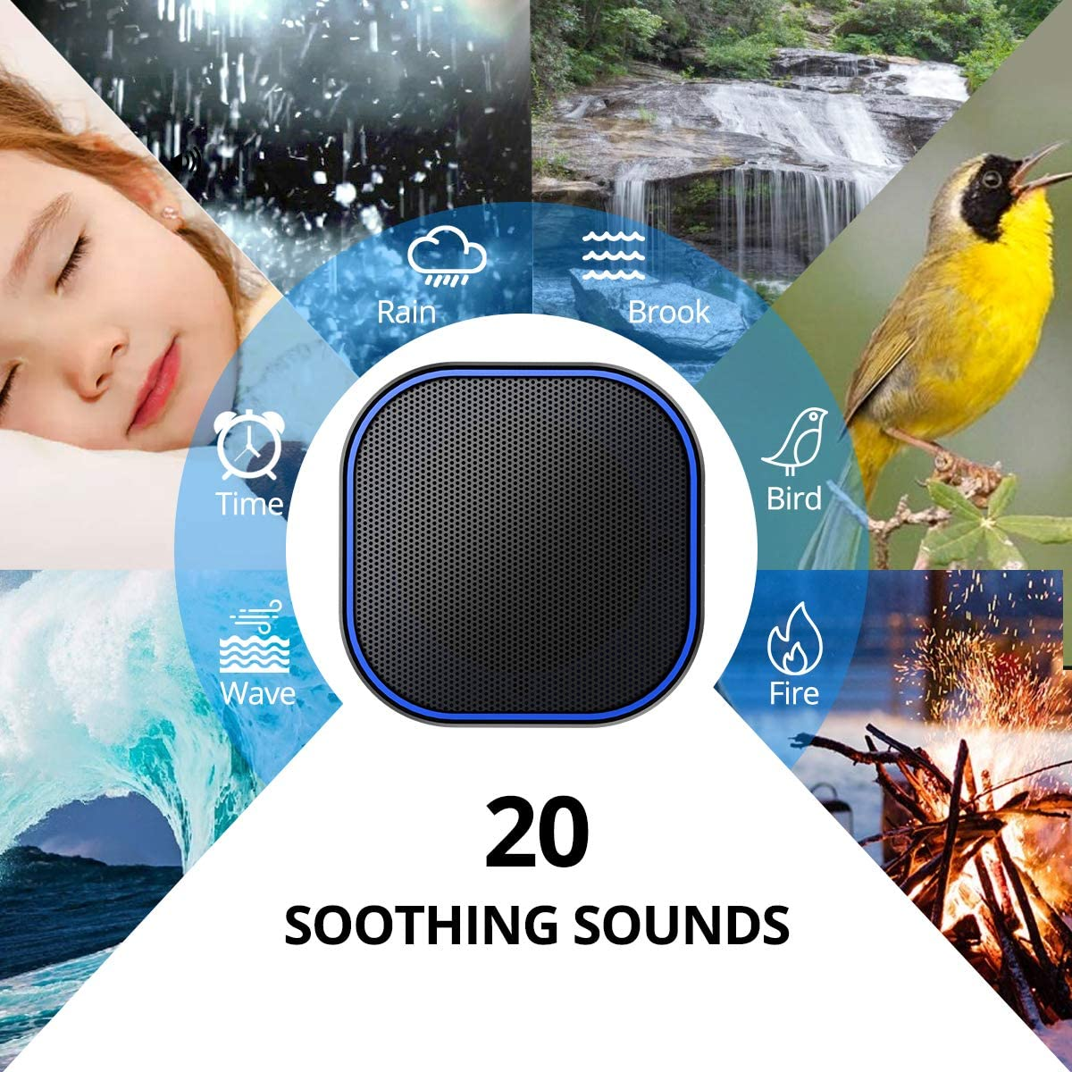 Magicteam Sound Machine White Noise Machine with 20 Non Looping Natural Soothing Sounds and Memory Function 32 levels of volume powered by AC or USB and Sleep Timer Sound Therapy for Baby Kids Adults.