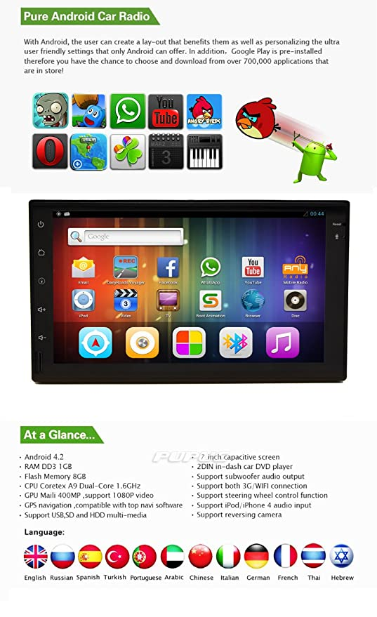 7 Inch Car Stereo Autoradio android 4 2 2 Tablet Car Stereo Video in-dash  GPS 3D Navigation WIFI/3G Internet Multi-touch screen FM AM radio APP USB