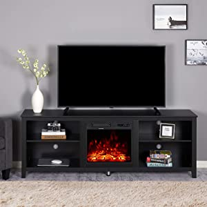 Amerlife Fireplace TV Stand, Wood Texture Entertainment Center, Wide Farmhouse Media Console Storage Cabinet for for TVs Up to 78