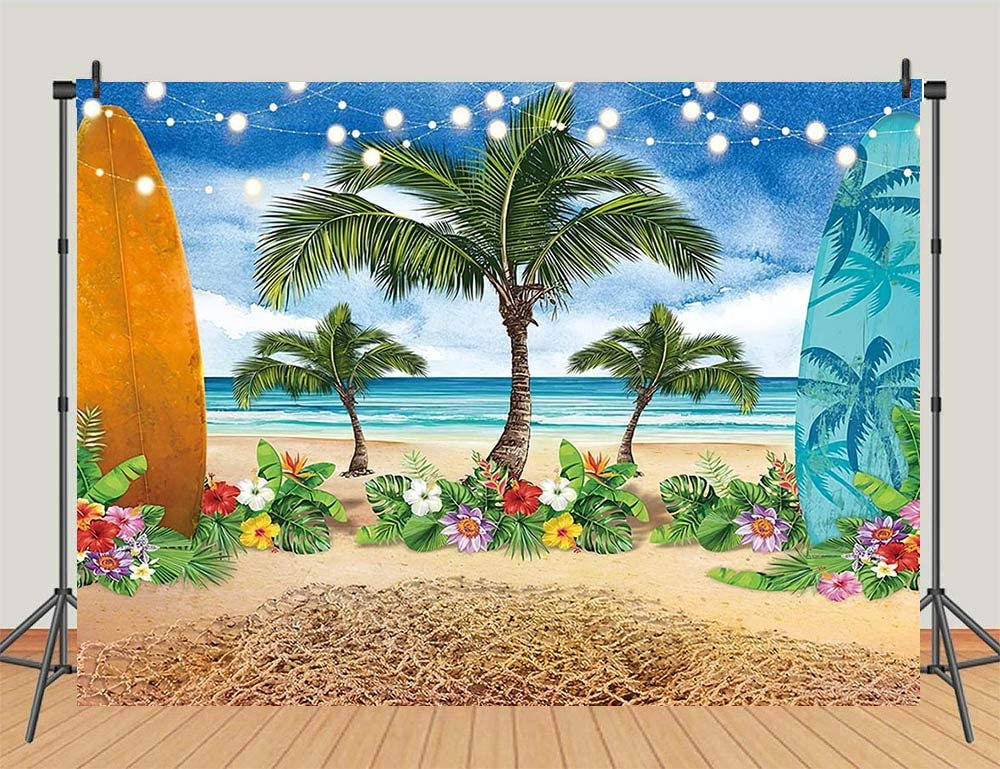 OFILA Tropical Beach Photos Backdrop 12x8ft Hawaiian Luau Photography Background Palm Trees Photos Summer Holidays Party Decoration Festival Celebration Travel Photos Props