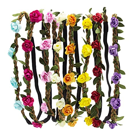 HBF 8 stk Blumenkranz mehrfarbig Blume Bohemia Style Kopfschmuck Haarbänder Stirnbänder Floral Girlande für Festival Hochzeit