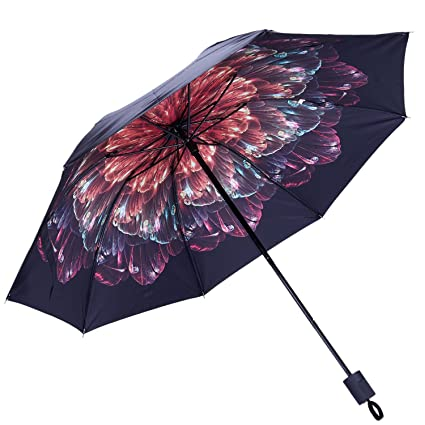 TOOGOO Sombrillas de Mujer para Sol con Capa Negra Sombrilla Paraguas de Mujer sombrilla Plegable Senoras