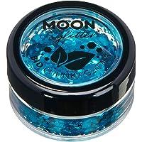 Purpurina Gruesa Biodegradable Eco de Moon Glitter - Purpurina 100% Cosmética Bio para Cara, Cuerpo, Uñas, Pelo y Labios - 3g - Azul