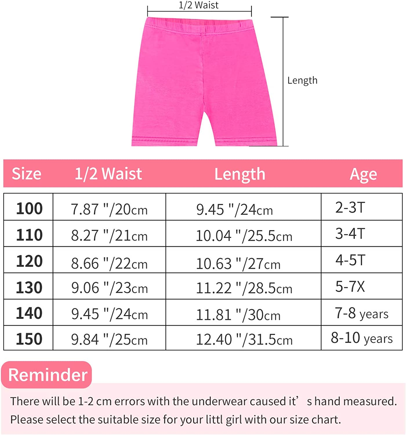 ORPAPA Girls Dance Bike Shorts 6 Pack Kids Under Skirt Shorts for Sports 2-10 Y