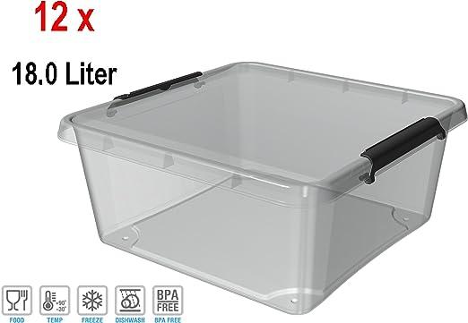 ORPLAST 12 x simples puertas Caja con clips – 18 Litros – 39 x 39 x 16,5 cm – Transparente: Amazon.es: Hogar