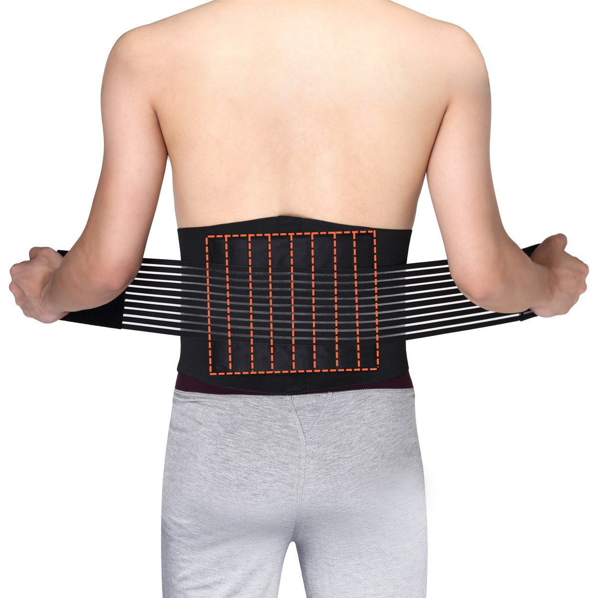 Medical Grade 8 Splints Stabilizing Lumbar Lower Back Brace and Support Belt with Dual Adjustable Straps and Breathable Mesh Panels, Wide Lumbar Support Area by OasisSpace (M 23-30'')