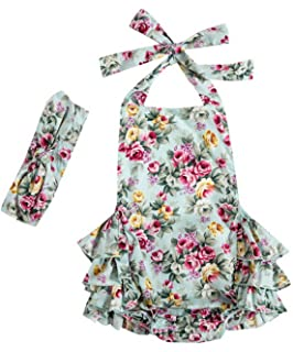 bfd6d060e425 Messy Code Baby Girl Romper Vintage Floral Bubble Outfit Baby Bodysuit with  Headband