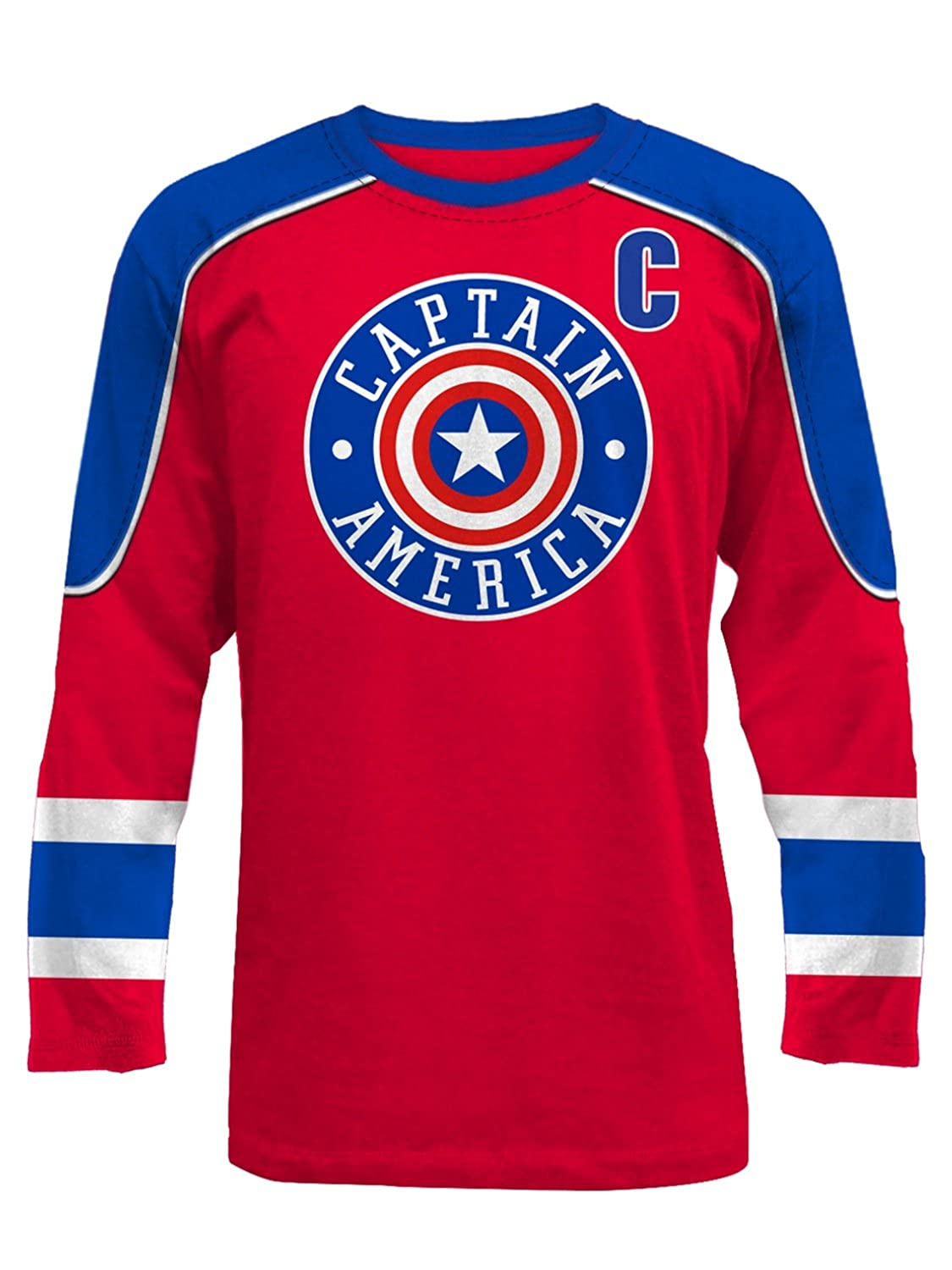 f29f2b2a576 Marvel Comics Avengers Mens Captain America Hockey Jersey Shirt Small