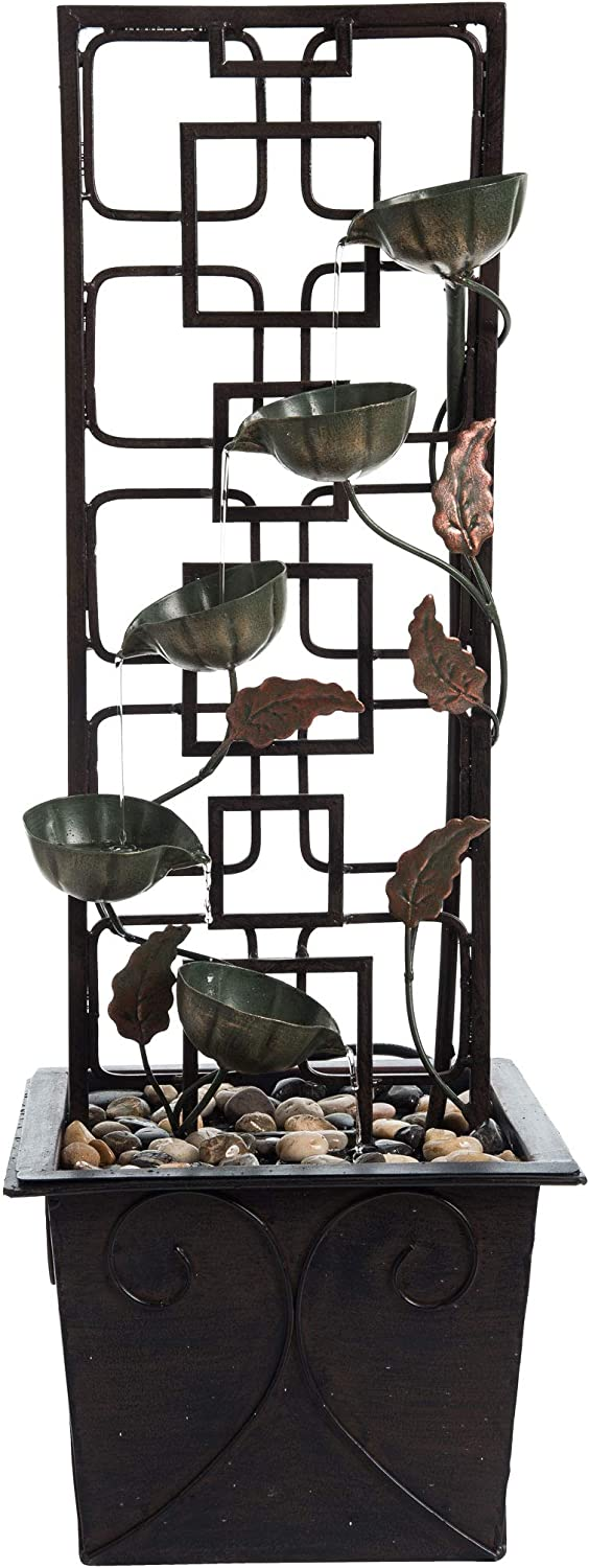 Foreside Home and Garden Bronze Flower Lattice Metal Indoor Water Fountain with Pump, Multicolored, 10.75 x 10.75 x 31.5