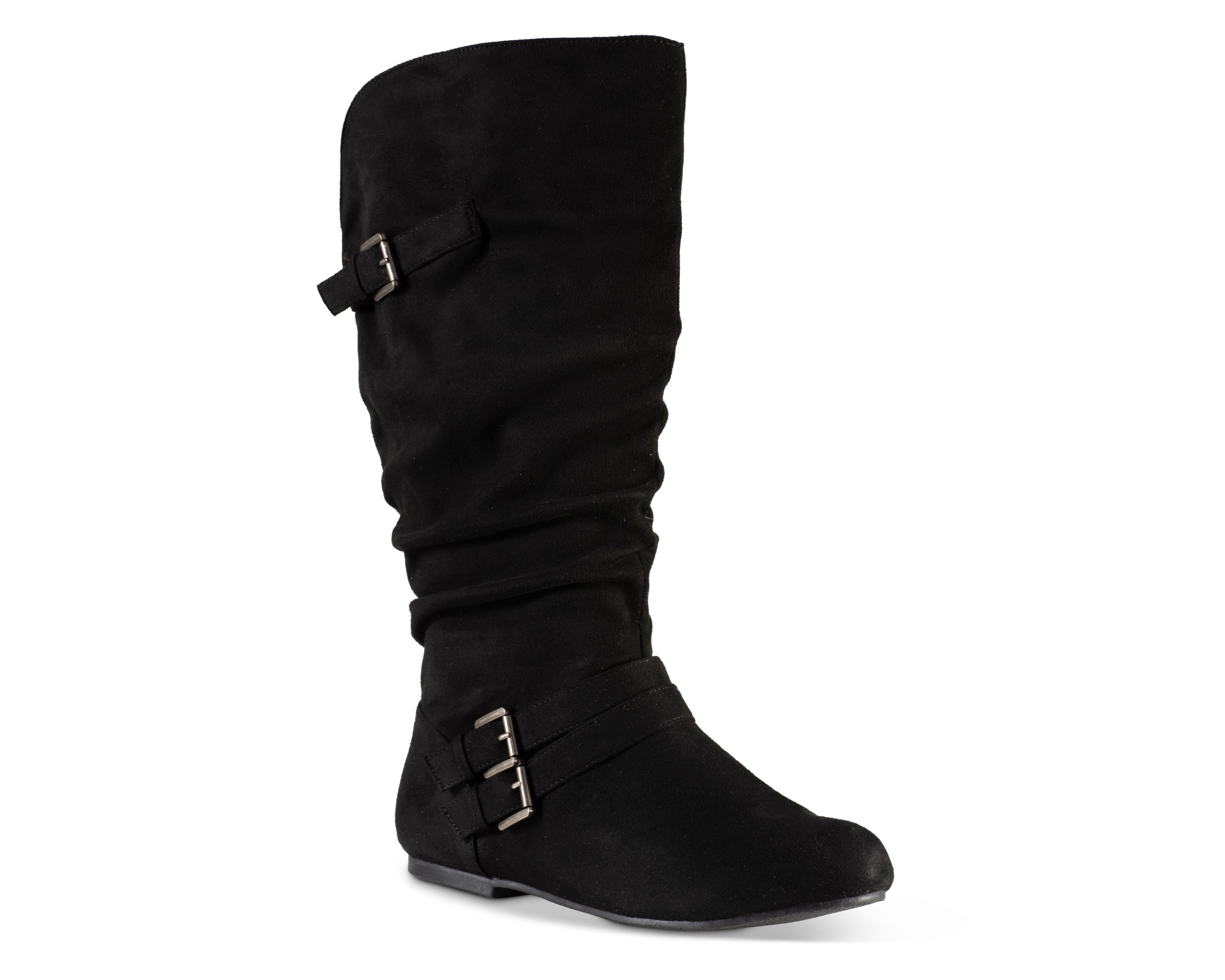 Twisted Women's Shelly Wide Width/Wide Calf Faux Leather Knee-High Scrunch Buckle Strap Riding Boot - Black Suede, Size 11