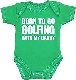 BabyPrem Baby Born to go Golfing with My Daddy Bodysuit Vest One-Piece Pink 0-3