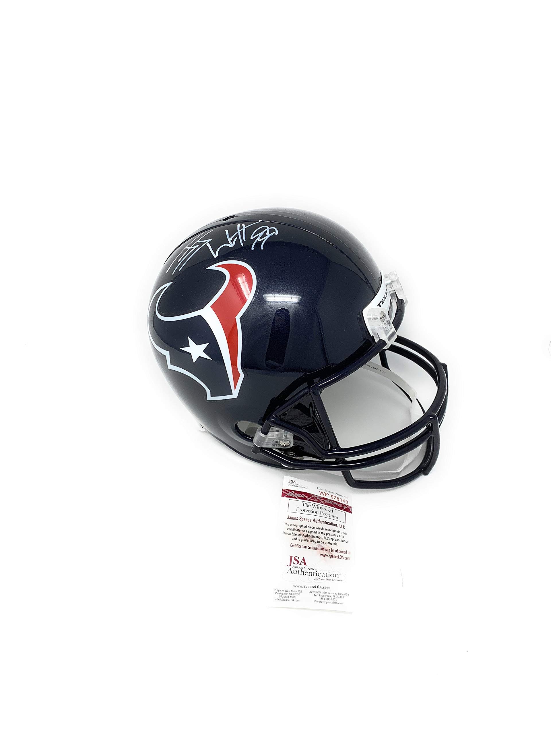 JJ Watt Houston Texans Signed Autograph Full Size Helmet Watt Hologram JSA Witnessed Certified