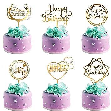 Happy Birthday Cake Topper,6 Piezas Decoración para Tarta,Happy Birthday Topper Decoración para Varios Pastel de Cumpleaños Boda(Oro)