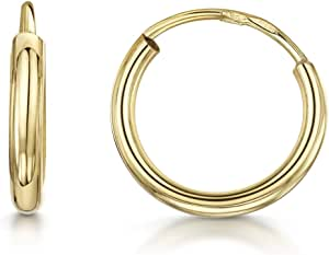 Amberta 9K Real Yellow Gold Hoops - Sleeper Creole for Women - Classic Round Endless Earrings - Different Sizes