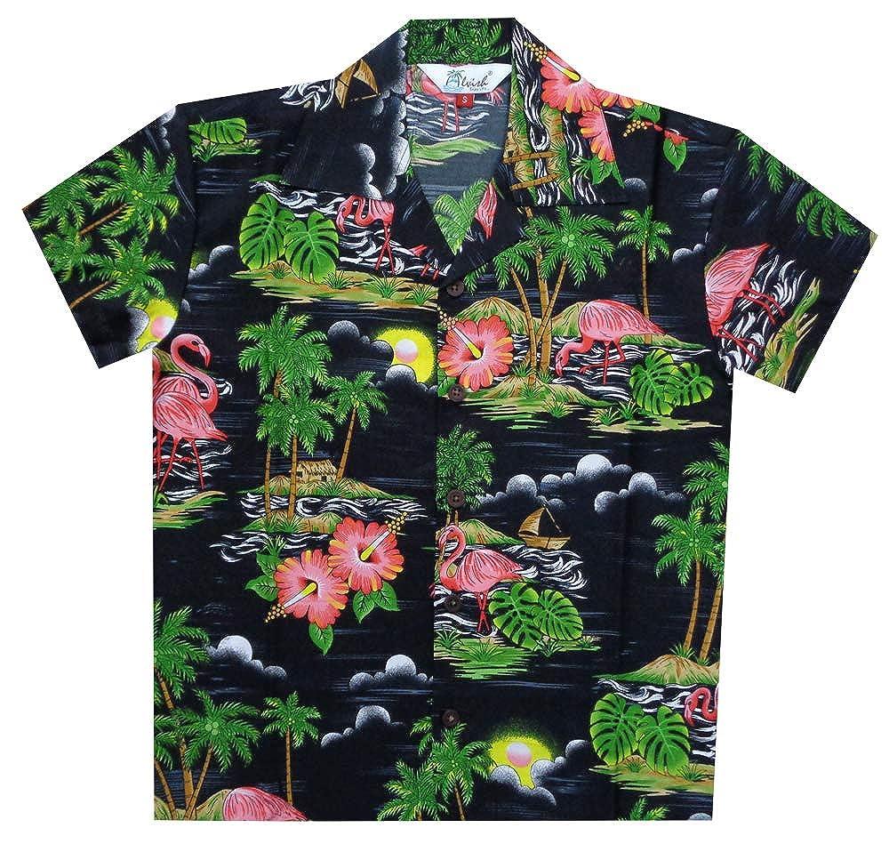 Hawaiian Shirts Boys Scenic Flamingo Beach Aloha Party Camp Holiday Casual