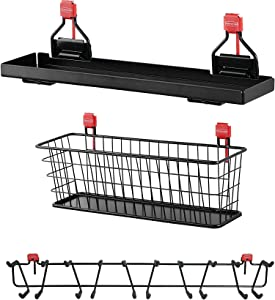 "Rubbermaid Shed Shelf, Wire Basket Accessory & 50 Lbs Capacity 34"" Tool Rack"