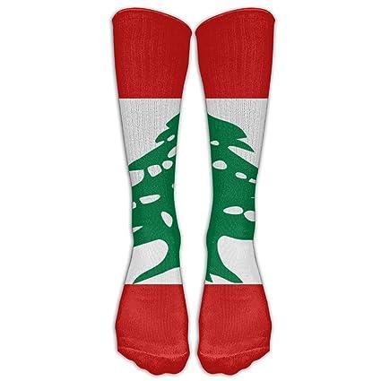 Calcetines de béisbol unisex con bandera del Líbano con rodilla y calcetines largos