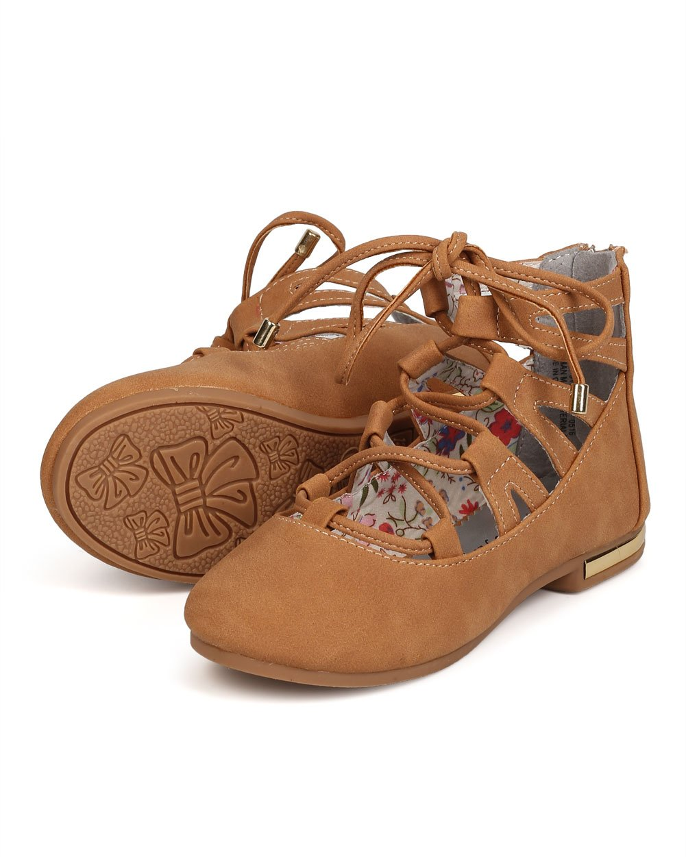 Nubuck Round Toe Lace up Flat (Toddler Girl/Little Girl/Big Girl) FC71 - Beige (Size: Toddler 10) by Little Angel (Image #4)