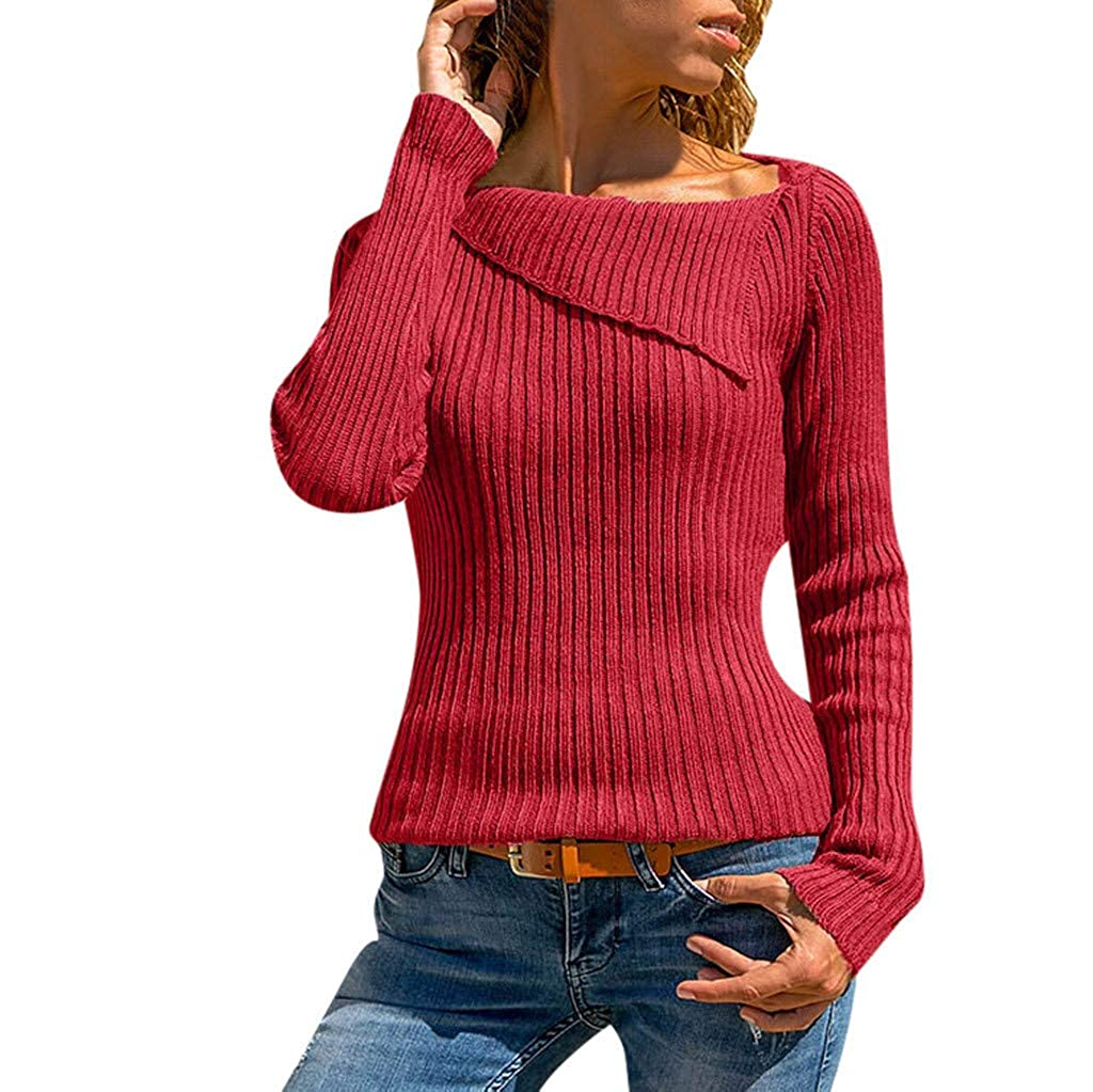 Baiggooswt Pullover Sweaters for Women, Casual Solid Long Sleeve Turn Down Collar Knitting Pullover Tops Blouses Baigoods_004989