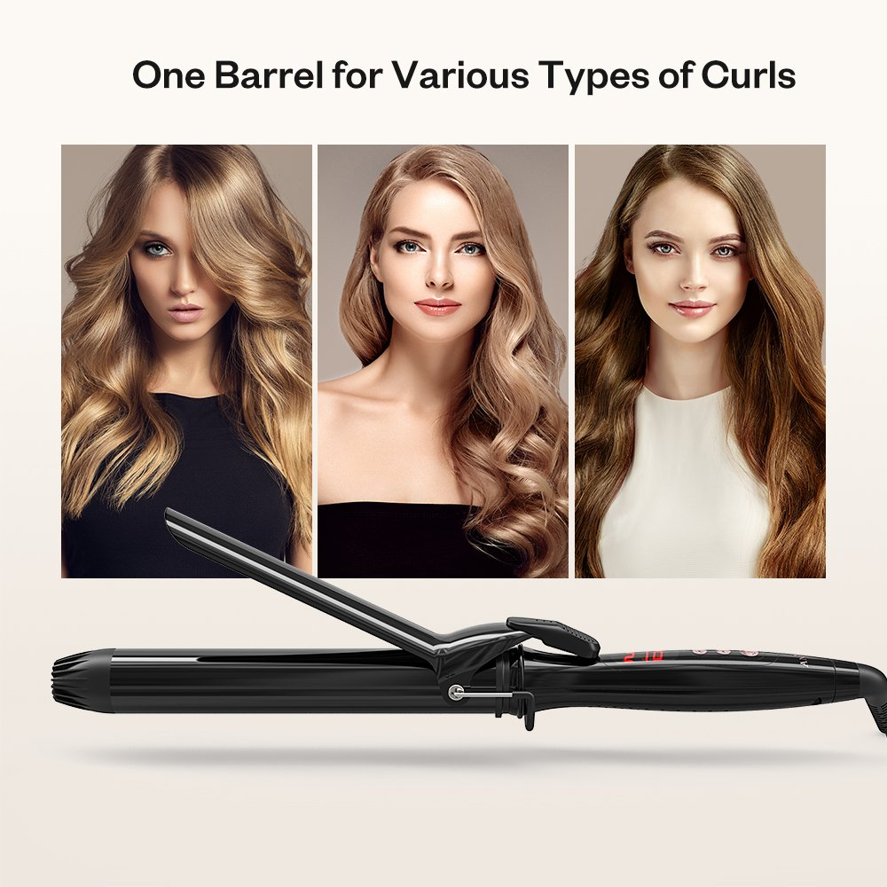 Anjou Curling Iron, 1.25 inch Hair Curler Curling Wand with Anti-scalding Insulated Tip, Ceramic Tourmaline Coating with LCD Diaplay(250 °F to 430 °F, Glove and Curl Clips Included) by Anjou (Image #2)