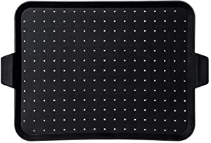 "Beckon Ware Silicone Baking Rack – Non-Stick Splatter Screen – 16x12""- Multi-Use Splatter Shield - Electric Skillet Cover, Baking Mat, and Drain Board - Food Safe - Heat Resistant – Black"
