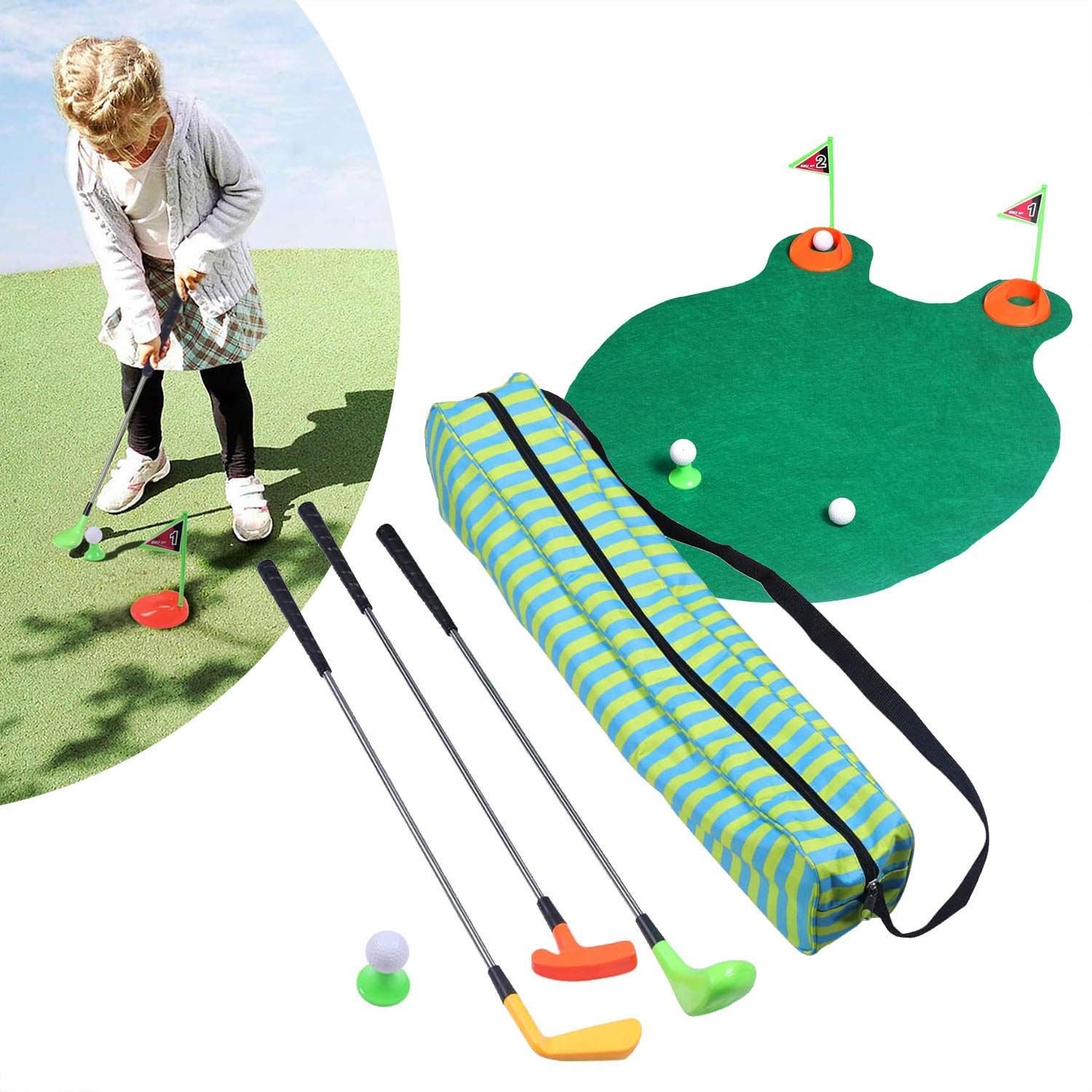 Eighth Creation Kids Golf Club Toys - Best Golf Clubs, Putting Green Mat, & Mini Golf Bag Play Set for Toddler & Preschool Children | Great Educational Starter Kit for Happy Indoor & Outdoor Golfing by Eighth Creation