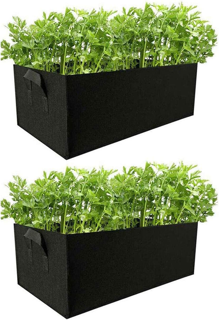 Veg Tomato Fabric Grow Bag Pot Bags Square Garden Planting Bags with Handles (L, Blcak)